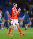 Gareth Bale of Wales thanks the fans at the end of the game during the FIFA World Cup Qualifying match at the Cardiff City Stadium, Cardiff. Picture date: November 12th, 2016. Pic Robin Parker/Sportimage