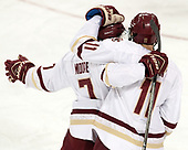 Connor Moore (BC - 7), Chris Calnan (BC - 11) - The Boston College Eagles defeated the University of Vermont Catamounts 7-4 on Saturday, March 11, 2017, at Kelley Rink to sweep their Hockey East quarterfinal series.The Boston College Eagles defeated the University of Vermont Catamounts 7-4 on Saturday, March 11, 2017, at Kelley Rink to sweep their Hockey East quarterfinal series.
