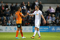 Gylfi Sigurdsson of Swansea City shakes hands with Barnet's Curtis Weston at the final whistle during Barnet vs Swansea City, Friendly Match Football at the Hive Stadium on 12th July 2017