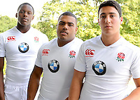 Mortimer, England, Academy players Maro Itoje, Kyle Sinckler, Brett Herron at the Launch of BMW Group UK's new partnership with the RFU including investment in the RFU National Academy Programme and front of shirt sponsorship for the England Under-20, Under-18 and Under-16 squads at  BMW Group Academy, Mortimer, England, September 25.