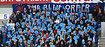 Rangers fans blue card protest against the board