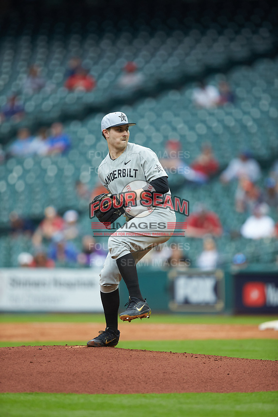 Vanderbilt Commodores starting pitcher Patrick Raby (29) in action against the Louisiana Ragin' Cajuns in game five of the 2018 Shriners Hospitals for Children College Classic at Minute Maid Park on March 3, 2018 in Houston, Texas.  The Ragin' Cajuns defeated the Commodores 3-0.  (Brian Westerholt/Four Seam Images)