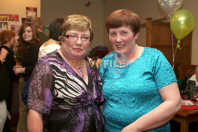 Mary Morgan with her sister Theresa Dillon at her 60th in The Rugby Club...Photo NEWSFILE/Jenny Matthews.(Photo credit should read Jenny Matthews/NEWSFILE)....This Picture has been sent you under the condtions enclosed by:.Newsfile Ltd..The Studio,.Millmount Abbey,.Drogheda,.Co Meath..Ireland..Tel: +353(0)41-9871240.Fax: +353(0)41-9871260.GSM: +353(0)86-2500958.email: pictures@newsfile.ie.www.newsfile.ie.FTP: 193.120.102.198.