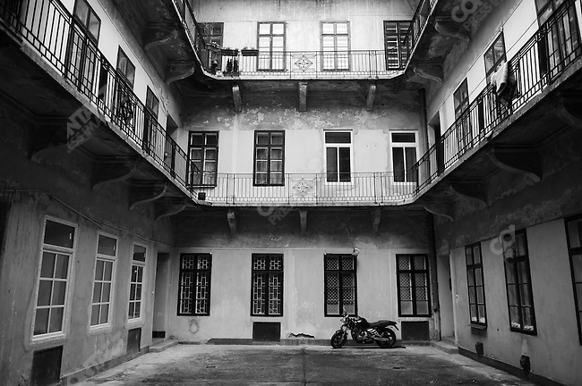 A motorcycle was parked in one of the many courtyards in the Pest area of Budapest, Hungary, March 23, 2008