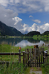 Wooden gate, Lake Haldensee, Nesslewangle, Reutte district. Austria.The Alps