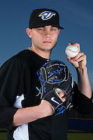 March 1, 2010:  Pitcher Brett Cecil (27) of the Toronto Blue Jays poses for a photo during media day at Englebert Complex in Dunedin, FL.  Photo By Mike Janes/Four Seam Images