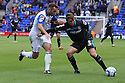 Luke Freeman of Stevenage holds off Danny Holmes of Tranmere<br />  - Tranmere Rovers v Stevenage - Sky Bet League One - Prenton Park, Birkenhead - 7th September 2013. <br /> © Kevin Coleman 2013