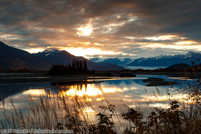 Fall landscape of sunrise over Knik River and Chugach Mountains with reflections.  Matanuska Valley, Alaska<br /> <br /> Photo by Jeff Schultz/SchultzPhoto.com  (C) 2018  ALL RIGHTS RESERVED<br /> <br /> David Young 2018 October Photo tour/workshop