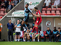 Aaron Holloway of Wycombe Wanderers flicks on during the Sky Bet League 2 match between Crawley Town and Wycombe Wanderers at Checkatrade.com Stadium, Crawley, England on 29 August 2015. Photo by Liam McAvoy.