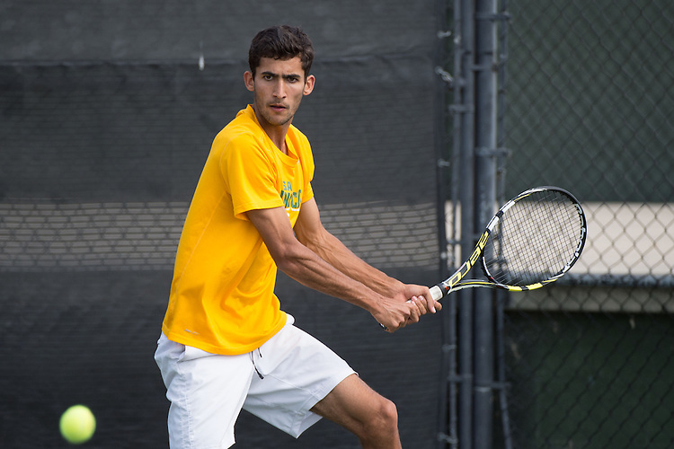 April 23, 2015; San Diego, CA, USA; San Francisco Dons tennis player Bernardo Saraiva during the WCC Tennis Championships at Barnes Tennis Center.