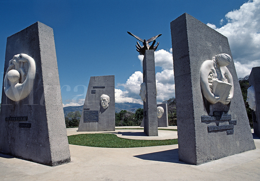SYMBOLIC MONUMENT to PEACE decorates the grounds of the PEACE UNIVERSITY - CENTRAL HIGHLANDS, COSTA RICA
