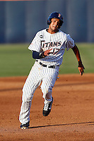 Carlos Lopez #17 of the Cal State Fullerton Titans runs the bases against the UC Irvine Anteaters at Goodwin Field on May 18, 2013 in Fullerton, California. Fullerton defeated UC Irvine, 3-2. (Larry Goren/Four Seam Images)