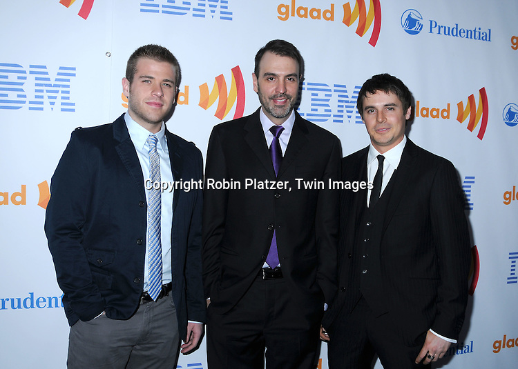 Scott Evans, Ron Carlivati and Brett Claywell of One Life to Live posing for photographers at The 21st Annual GLAAD Media Awards on March 13, 2010 at The Marriott Marquis Hotel in New York City. The Honorees wereJoy Behar and Cynthia Nixon.