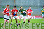Brendan O'Sullivan in action with Mark Sugrue (Cork) in the Munster Junior Football Final on Wednesday evening at Austin Stack park, Tralee