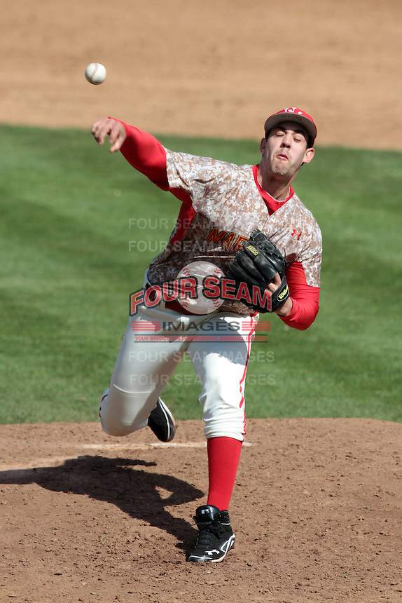 Brett Harman #24 of the Maryland Terrapins pitches against the UCLA Bruins at Jackie Robinson Stadium on February 19, 2012 in Los Angeles,California. Maryland defeated UCLA 5-1.(Larry Goren/Four Seam Images)