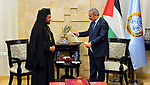 Palestinian Prime Minister Mohammad Ishtayeh, meets with a delegation of Greek Orthodox and the mayor of Ramallah Musa Hadid, in the West Bank city of Ramallah, April 20, 2019. Photo by Prime Minister Office