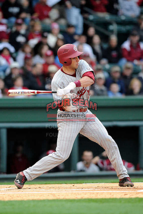 Infielder George Iskenderian (28) of the South Carolina Gamecocks bats in a game against the Furman Paladins on Wednesday, April 3, 2013, at Fluor Field at the West End in Greenville, South Carolina. (Tom Priddy/Four Seam Images)
