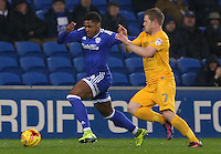 Kadeem Harris of Cardiff City is challenged by Daryl Horgan of Preston North End during the Sky Bet Championship match between Cardiff City and Preston North End at Cardiff City Stadium, Wales, UK. Tuesday 31 January 2017