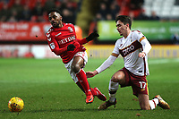 Tariqe Fosu of Charlton skips past a challenge from Bradford City's Alex Gilliead during Charlton Athletic vs Bradford City, Sky Bet EFL League 1 Football at The Valley on 13th February 2018