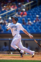 Lake County Captains right fielder David Armendariz (15) at bat during a game against the South Bend Cubs on July 27, 2016 at Classic Park in Eastlake, Ohio.  Lake County defeated South Bend 5-4.  (Mike Janes/Four Seam Images)