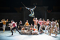 London, UK. 10.06.2014. Tamara Rojo and Carlos Acosta, from English National Ballet, in dress rehearsal for ROMEO AND JULIET, in the round, in the Royal Albert Hall. Picture shows: Yonah Acost (Mercutio - mid-air). Photograph © jane Hobson.