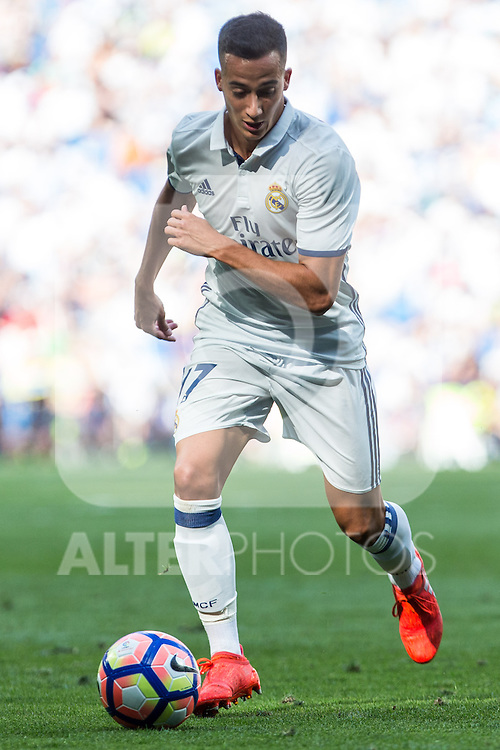 Real Madrid's Lucas Vazquez during the match of La Liga between Real Madrid and Club Atletico Osasuna at Santiago Bernabeu Estadium in Madrid. September 10, 2016. (ALTERPHOTOS/Rodrigo Jimenez)