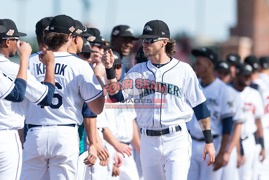 Peoria Javelinas outfielder Ian Miller (9), of the Seattle Mariners organization, during player introductions before the Arizona Fall League Championship game against the Salt River Rafters at Scottsdale Stadium on November 17, 2018 in Scottsdale, Arizona. Peoria defeated Salt River 3-2 in 10 innings. (Zachary Lucy/Four Seam Images)