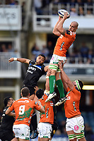 Francesco Minto of Benetton Rugby wins the ball at a lineout. European Rugby Champions Cup match, between Bath Rugby and Benetton Rugby on October 14, 2017 at the Recreation Ground in Bath, England. Photo by: Patrick Khachfe / Onside Images