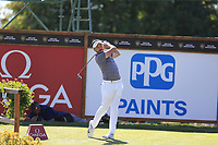 Mike Lorenzo-Vera (FRA) tees off the 18th tee during Saturday's Round 3 of the 2018 Omega European Masters, held at the Golf Club Crans-Sur-Sierre, Crans Montana, Switzerland. 8th September 2018.<br /> Picture: Eoin Clarke | Golffile<br /> <br /> <br /> All photos usage must carry mandatory copyright credit (&copy; Golffile | Eoin Clarke)