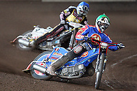 Heat 5: Andreas Jonsson (green) and Billy Janniro (blue) - Coventry Bees vs Lakeside Hammers - Craven Shield Final 2nd Leg at Brandon, Coventry - 24/10/08 - MANDATORY CREDIT: Rob Newell/TGSPHOTO