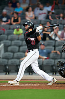 Fayetteville Woodpeckers David Hensley (48) at bat during a Carolina League game against the Down East Wood Ducks on August 13, 2019 at SEGRA Stadium in Fayetteville, North Carolina.  Fayetteville defeated Down East 5-3.  (Mike Janes/Four Seam Images)