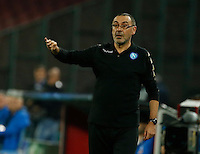 Maurizio Sarri during the Champions League Group  soccer match between SSC Napoli and   Dinamo Kiev  at the San Paolo  Stadium inNaples November 24, 2016