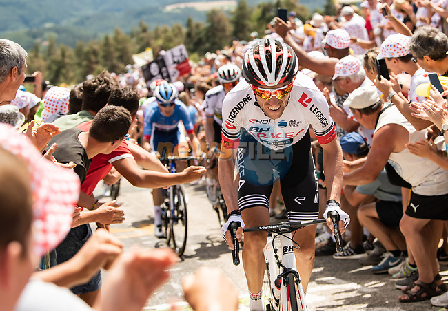 Anthony Delaplace (FRA) Team Arkéa-Samsic from the breakaway climbs the Cote de Saint-Just during Stage 9 of the 2019 Tour de France running 170.5km from Saint-Etienne to Brioude, France. 14th July 2019.<br /> Picture: ASO/Alex Broadway | Cyclefile<br /> All photos usage must carry mandatory copyright credit (© Cyclefile | ASO/Alex Broadway)