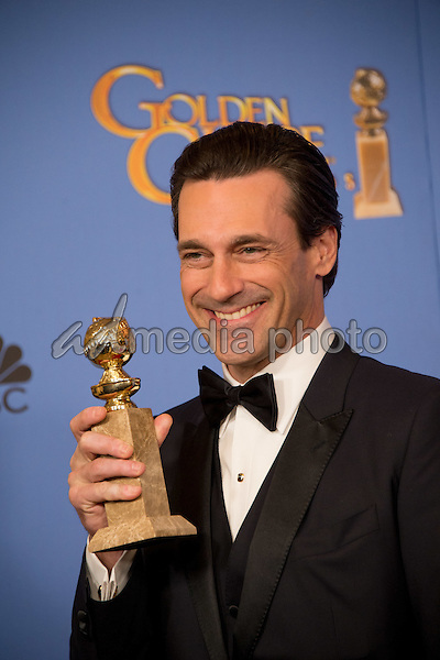 "After winning the category of BEST PERFORMANCE BY AN ACTOR IN A TELEVISION SERIES – DRAMA for his role in ""Mad Men,"" actor Jon Hamm poses backstage in the press room with his Golden Globe Award at the 73rd Annual Golden Globe Awards at the Beverly Hilton in Beverly Hills, CA on Sunday, January 10, 2016. Photo Credit: HFPA/AdMedia"