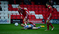 Lincoln City's Jake Hesketh under pressure from Accrington Stanley's Mark Hughes, left, and Accrington Stanley's Seamus Conneely<br /> <br /> Photographer Andrew Vaughan/CameraSport<br /> <br /> The EFL Sky Bet League One - Accrington Stanley v Lincoln City - Saturday 15th February 2020 - Crown Ground - Accrington<br /> <br /> World Copyright © 2020 CameraSport. All rights reserved. 43 Linden Ave. Countesthorpe. Leicester. England. LE8 5PG - Tel: +44 (0) 116 277 4147 - admin@camerasport.com - www.camerasport.com