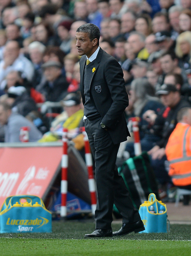 Norwich City's Manager Chris Hughton during the game<br /> <br /> Photo by Ian Cook/CameraSport<br /> <br /> Football - Barclays Premiership - Swansea City v Norwich City - Saturday 29th March 2014 - The Liberty Stadium - Swansea<br /> <br /> &copy; CameraSport - 43 Linden Ave. Countesthorpe. Leicester. England. LE8 5PG - Tel: +44 (0) 116 277 4147 - admin@camerasport.com - www.camerasport.com