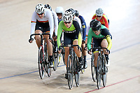 Philippa Sutton (L) of Waikato Bay of Plenty, Holly Edmondson and Lauren Ellis of Mid South Canterbury lead out front of the Elite Women Omnium 3 , Elimination race,  at the Age Group Track National Championships, Avantidrome, Home of Cycling, Cambridge, New Zealand, Sunday, March 19, 2017. Mandatory Credit: © Dianne Manson/CyclingNZ  **NO ARCHIVING**