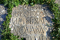 Latin Inscription on a Roman stone. Volubilis Archaeological Site, near Meknes, Morocco