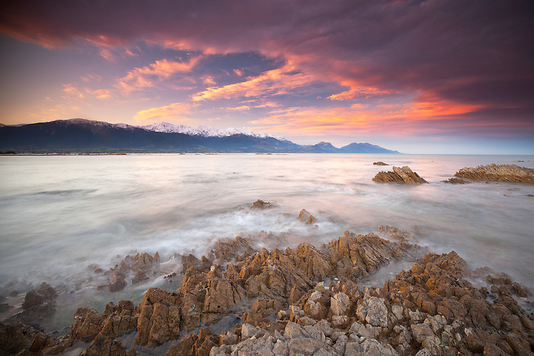Sunrise looking towards the Kaikoura Mountains and Kaikoura Bay, South Island, New Zealand - stock photo, canvas, fine art print