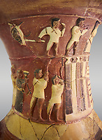 Hüseyindede vases, Old Hittite Polychrome Relief vessel close up  depicting top and second friezes showing a procession of musicians and dancers moving towards a temple building, 16th century BC. Huseyindede. Çorum Archaeological Museum, Corum, Turkey