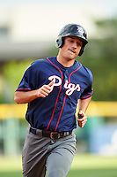 Lehigh Valley IronPigs right fielder Cam Perkins (27) runs the bases after hitting a home run during a game against the Buffalo Bisons on July 9, 2016 at Coca-Cola Field in Buffalo, New York.  Lehigh Valley defeated Buffalo 9-1 in a rain shortened game.  (Mike Janes/Four Seam Images)