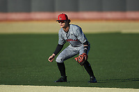Louisville Cardinals second baseman Tim Borden II (10) on defense against the Wake Forest Demon Deacons at David F. Couch Ballpark on March 7, 2020 in  Winston-Salem, North Carolina. The Demon Deacons defeated the Cardinals 3-2. (Brian Westerholt/Four Seam Images)