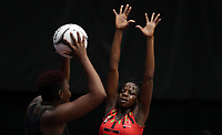 23.02.2018 Malawi's Sindi Simtowe in action during the Malawi v Jamaica Taini Jamison Trophy netball match at the North Shore Events Centre in Auckland. Mandatory Photo Credit ©Michael Bradley.