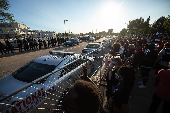 "September 5, 2020: Black Lives Matter protesters yell at police outside of Churchill Downs  the 146th Kentucky Derby. With the Kentucky Derby being the biggest sports event for the State of Kentucky, protestors have chosen the  event as a focal point for their calls for justice in the death of Breonna Taylor. Multiple groups from around the country have converged on Louisville to protest during the ""Run for the Roses"" at Churchill Downs in Louisville. Michael Clubb/Eclipse Sportswire/CSM"