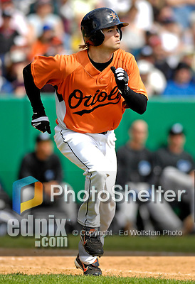 21 May 2007: Baltimore Orioles infielder Blake Davis hits a home run against the Toronto Blue Jays during Baseball's Annual Hall of Fame Game at Doubleday Field in Cooperstown, NY. The Orioles defeated the Blue Jays 13-7 in front of a sellout crowd of 9,791 at the historical ballpark...Mandatory Credit: Ed Wolfstein Photo