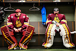 ST PAUL, MN - APRIL 7: Nick Deery #37 and Hunter Shepard #32 of the Minnesota-Duluth Bulldogs prepare to take on the Notre Dame Fighting Irish during the Division I Men's Ice Hockey Semifinals held at the Xcel Energy Center on April 7, 2018 in St Paul, Minnesota. (Photo by Tim Nwachukwu/NCAA Photos via Getty Images)