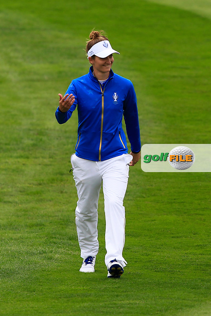 Anne Van Dam (EUR) on the 1st fairway during Day 3 Singles at the Solheim Cup 2019, Gleneagles Golf CLub, Auchterarder, Perthshire, Scotland. 15/09/2019.<br /> Picture Thos Caffrey / Golffile.ie<br /> <br /> All photo usage must carry mandatory copyright credit (© Golffile   Thos Caffrey)