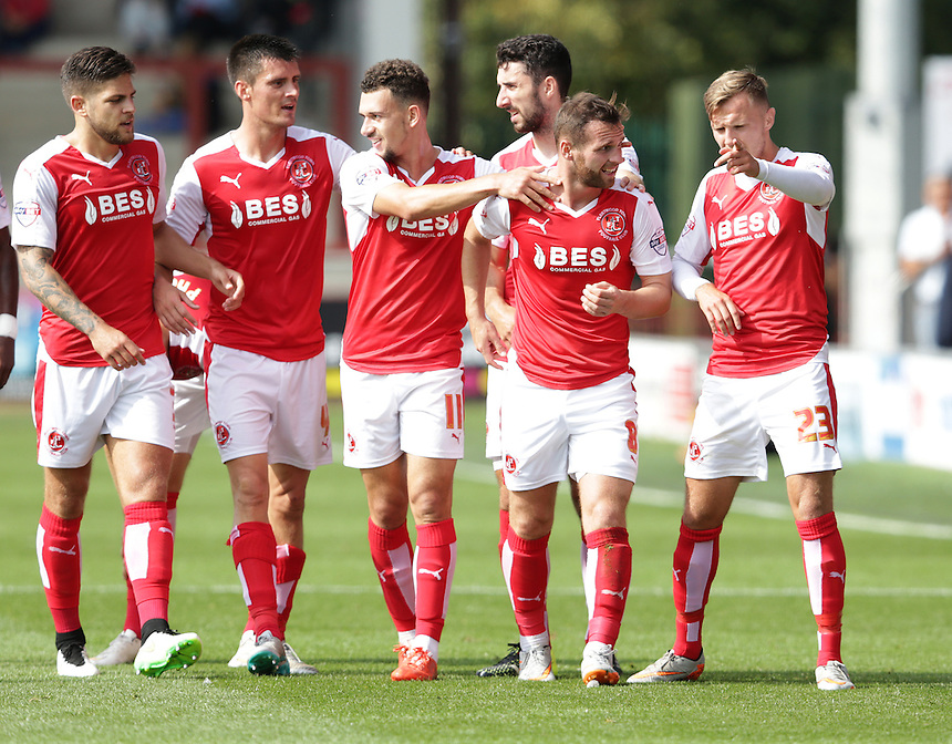 Fleetwood Town's Jimmy Ryan (2nd from right) celebrates scoring the opening goal <br /> <br /> Photographer Stephen White/CameraSport<br /> <br /> Football - The Football League Sky Bet League One - Fleetwood Town v Colchester United - Saturday 22nd August 2015 - Highbury Stadium - Fleetwood<br /> <br /> &copy; CameraSport - 43 Linden Ave. Countesthorpe. Leicester. England. LE8 5PG - Tel: +44 (0) 116 277 4147 - admin@camerasport.com - www.camerasport.com