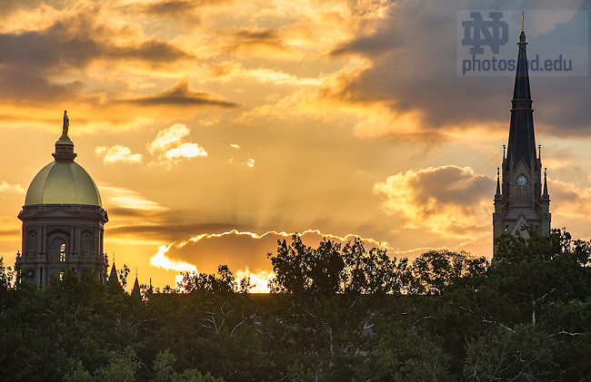 Sept. 5, 2013; Golden Dome at sunrise. Photo by Barbara Johnston/University of Notre Dame