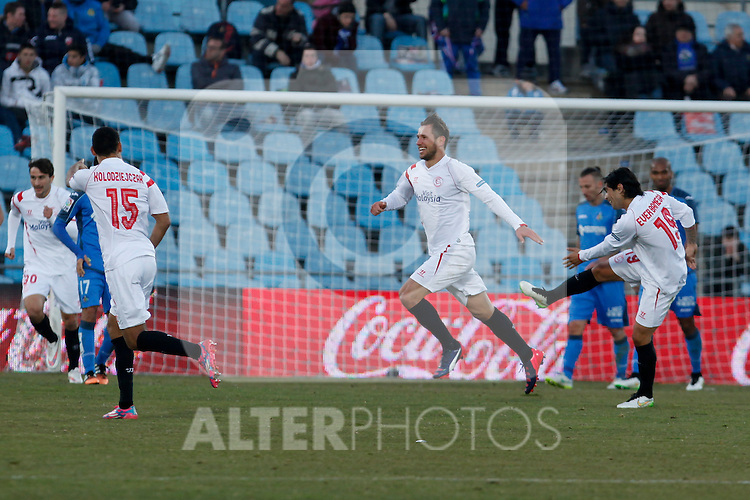 Sevilla´s Crychowiak celebrates a goal during 2014-15 La Liga match at Alfonso Perez Coliseum stadium in Getafe, Spain. February 08, 2015. (ALTERPHOTOS/Victor Blanco)